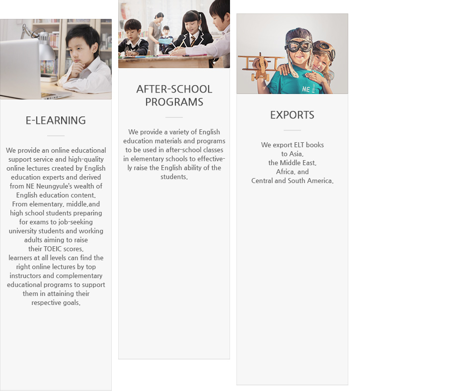 E-learning, After-school Programs, Exports