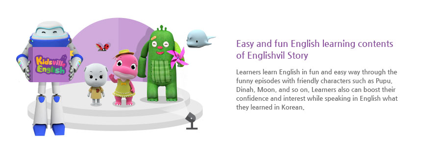 Easy and fun English learning contents of Englishvil Story